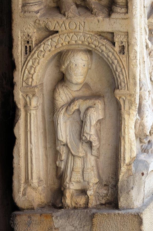 Diacre, soulagement bas, cathédrale de Modène, Italie photographie stock