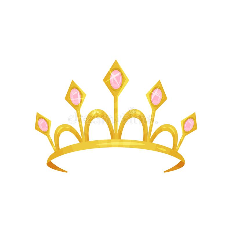 Diadème brillant de princesse décoré de cinq pierres roses précieuses Couronne d'or de reine Attribut royal Tête de la femme s illustration stock
