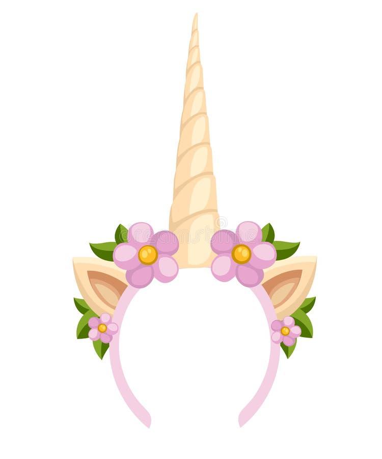 Diadème de licorne avec les fleurs et la feuille Bandeau d'accessoire de mode de vecteur Illustration de vecteur d'isolement sur  illustration stock