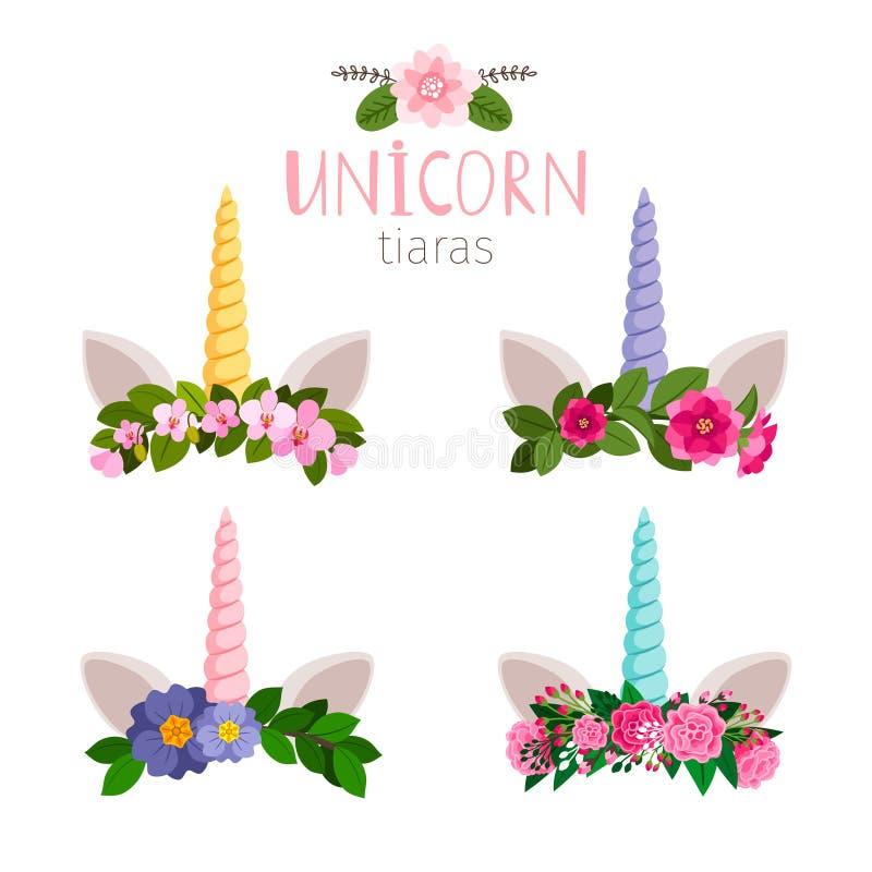 Diadèmes de licorne avec les fleurs colorées de la collection illustration stock