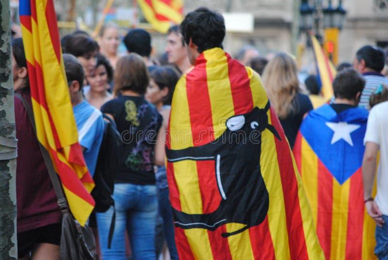 Diada de Catalunya - день Каталонии - Demostration для независимости стоковые фотографии rf
