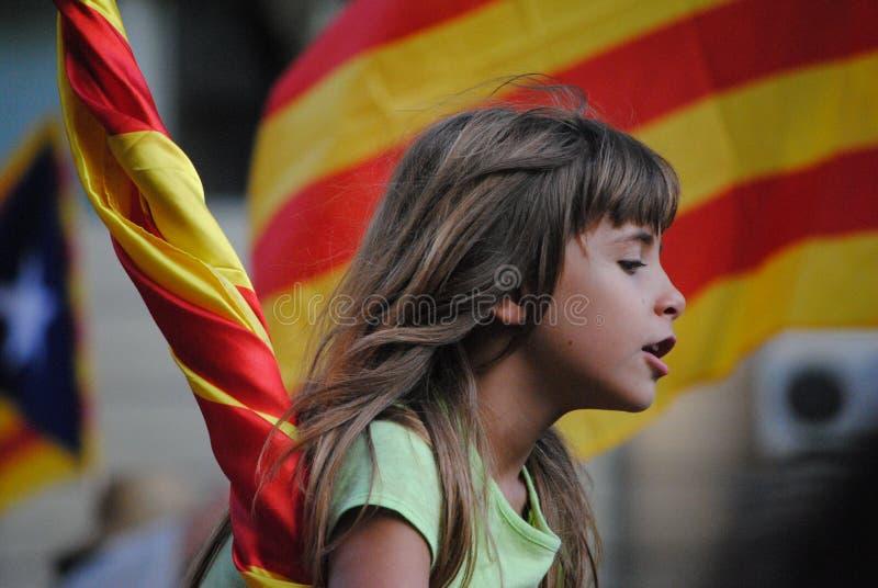 Diada DE Catalunya - de dag van Catalonië - Demostration voor Onafhankelijkheid stock foto