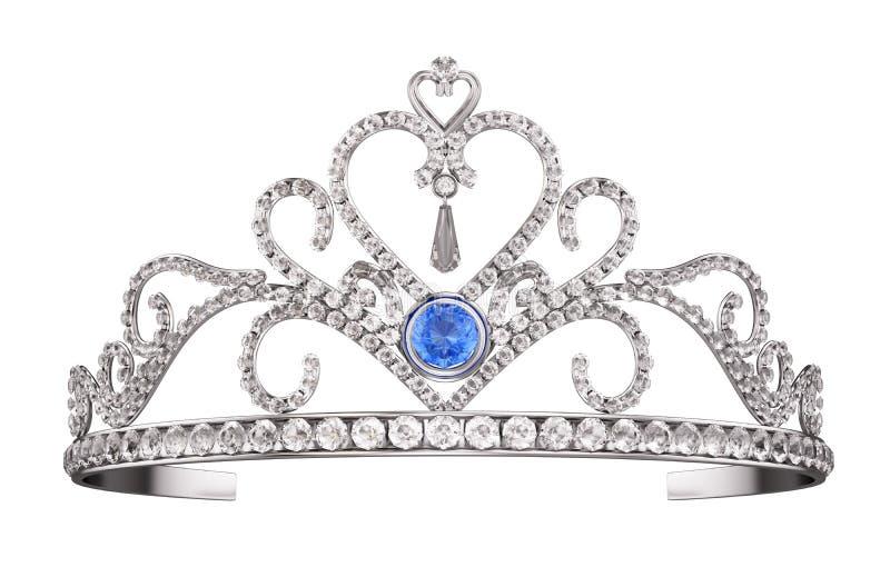 Diadem πριγκηπισσών, τιάρα που απομονώνεται στο λευκό ελεύθερη απεικόνιση δικαιώματος