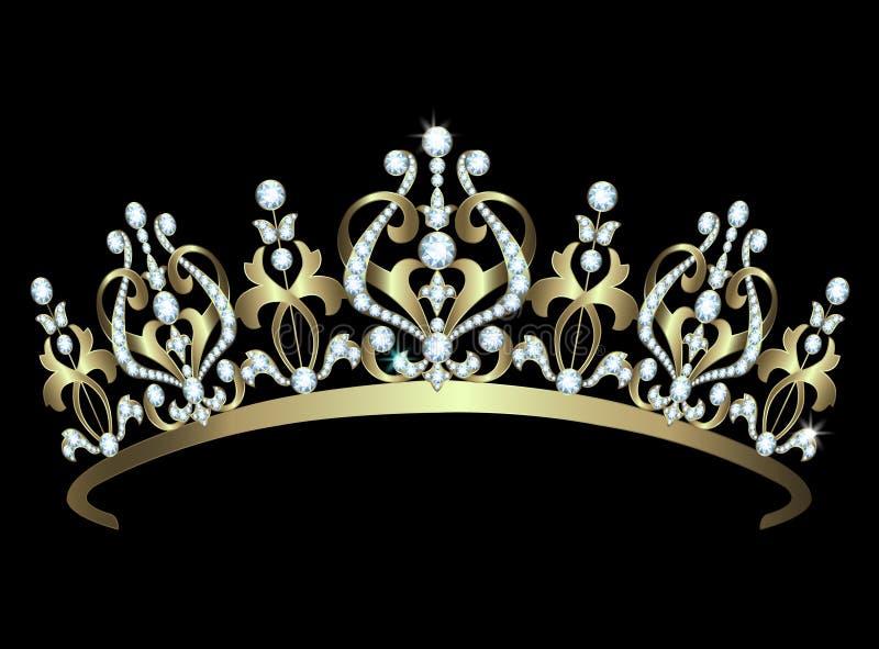 Diadem золота с диамантами иллюстрация штока