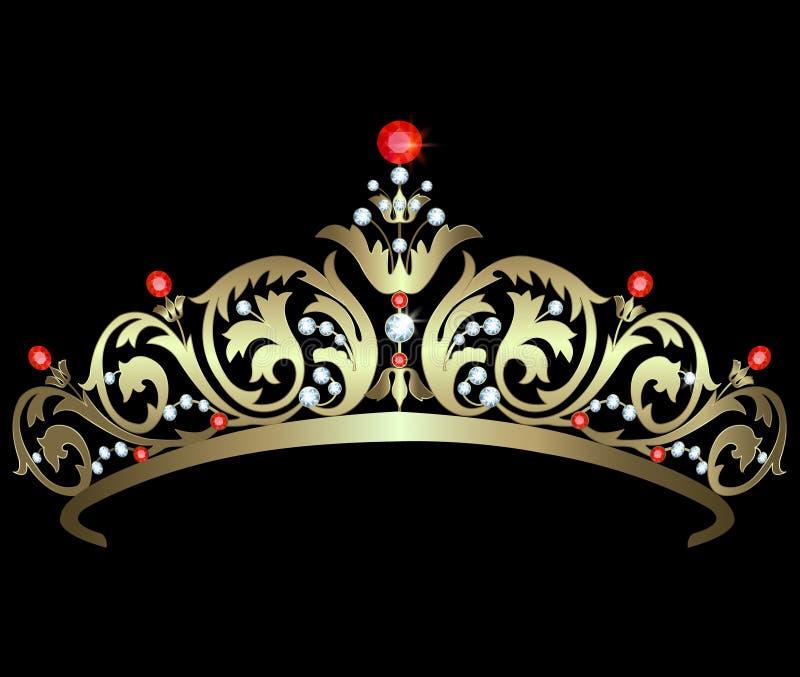 Diadem золота с рубинами иллюстрация штока