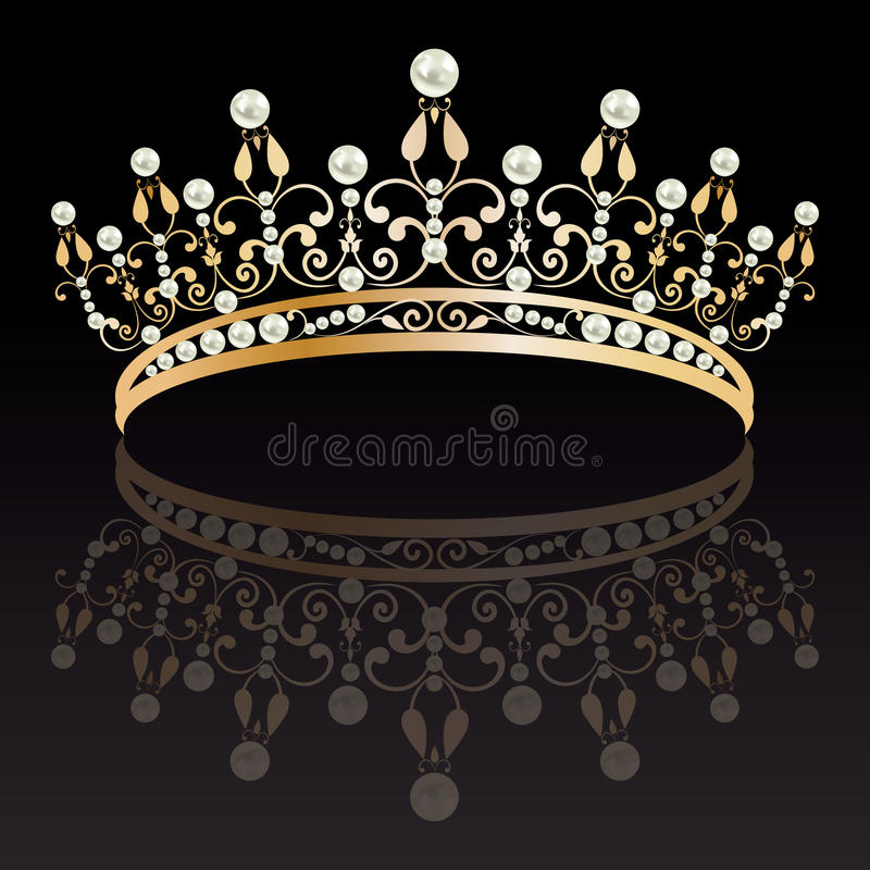 diadem Роскошное золото с тиарой жемчугов женственной с отражением иллюстрация вектора