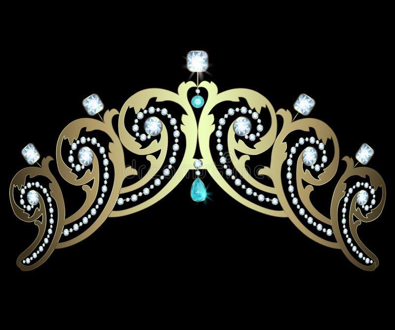 Diadem с диамантами и аквамаринами бесплатная иллюстрация