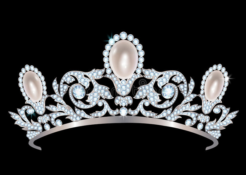 Diadem с диамантами и жемчугами бесплатная иллюстрация