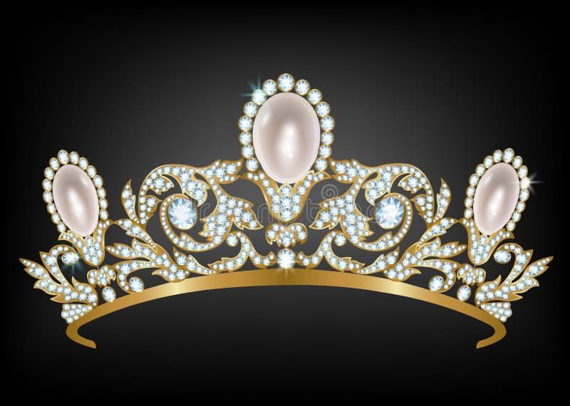 Diadem с диамантами и жемчугами иллюстрация штока