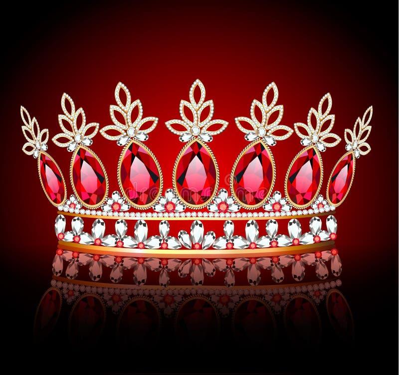 Free Diadem, Crown, Female Tiara With Precious Stones With Reflection Stock Image - 160824241