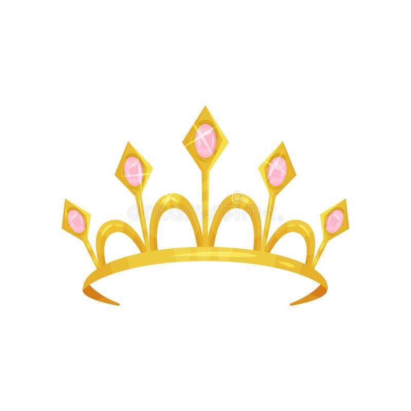 Diadema brillante di principessa decorato con cinque pietre rosa preziose Corona dorata della regina Attributo reale Testa della  illustrazione di stock