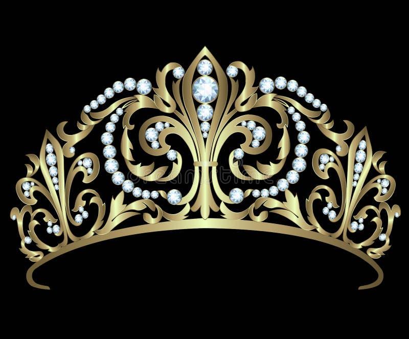Diadema del oro con los diamantes libre illustration