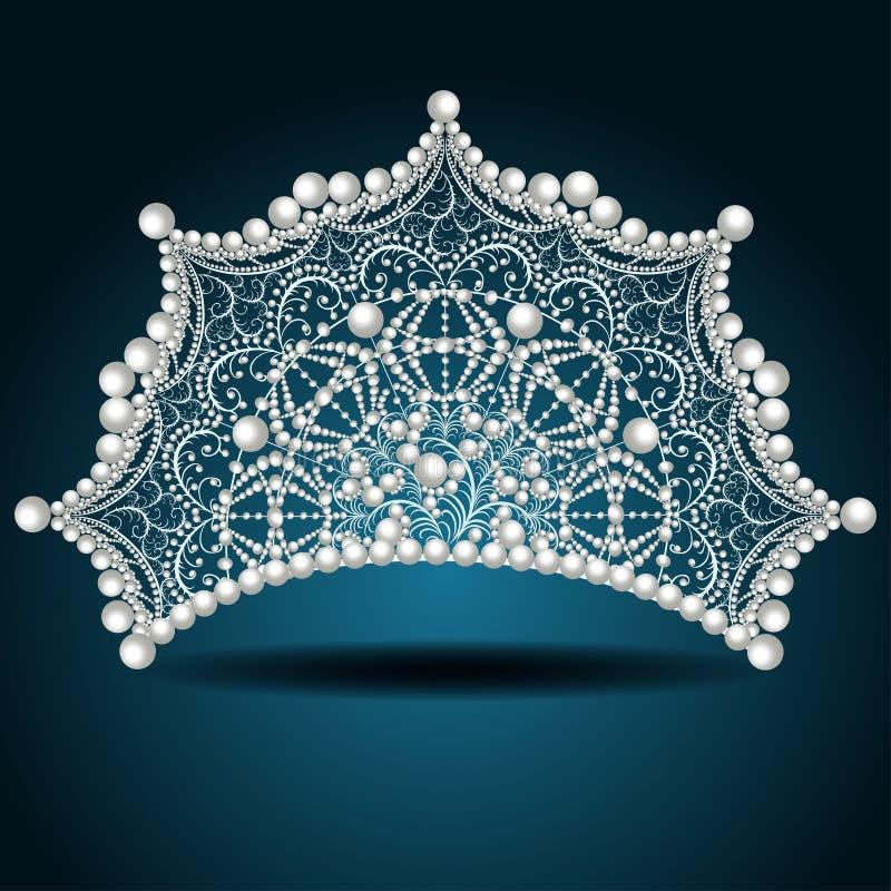 Diadema della corona con la femmina del bianco perla royalty illustrazione gratis
