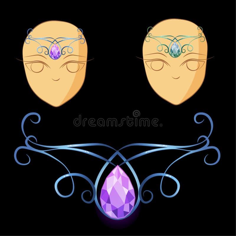 Diadema para a princesa com pedra e prata ilustração royalty free