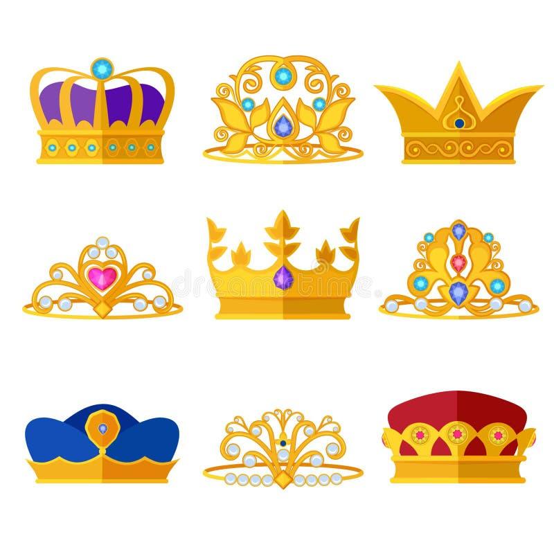 Diademi di principessa e corone dorate di re e delle regine Isolato stabilito di vettore su bianco royalty illustrazione gratis