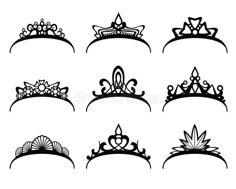 Diademi di vettore messi royalty illustrazione gratis