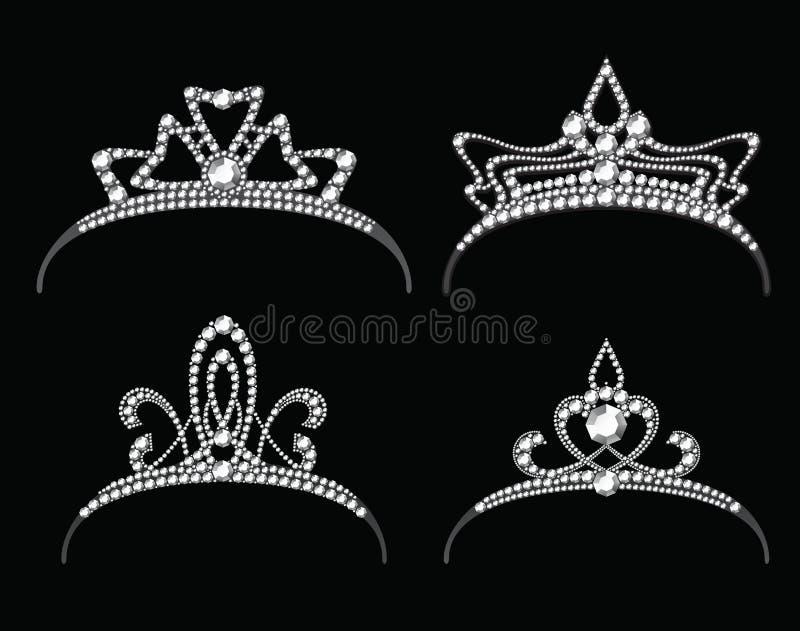 Diademi e corone con l'insieme di vettore del diamante royalty illustrazione gratis