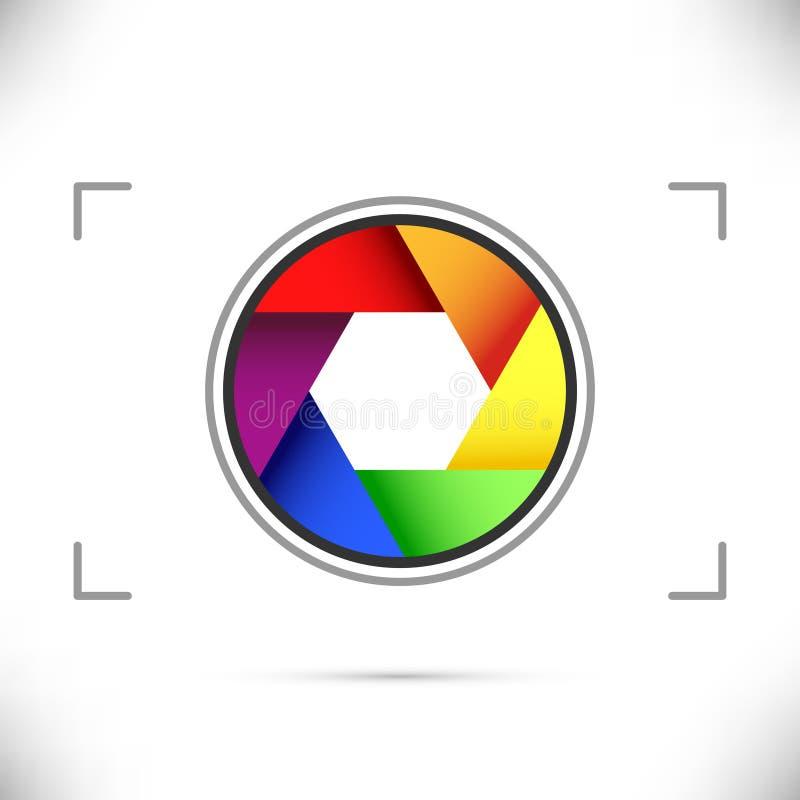 Diafragma brillante del obturador de cámara del arco iris stock de ilustración