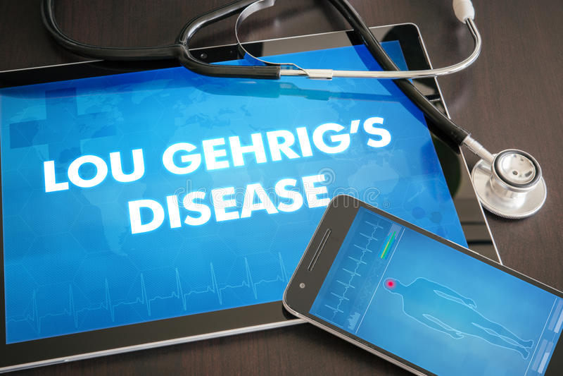 Diagnóstico c médico de Lou Gehrig's Disease (desordem neurológica) imagem de stock