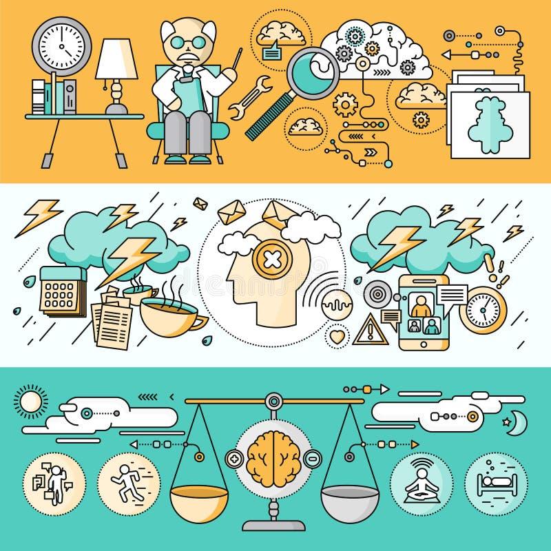 Diagnóstico de Brain Psychology Flat Design ilustração stock