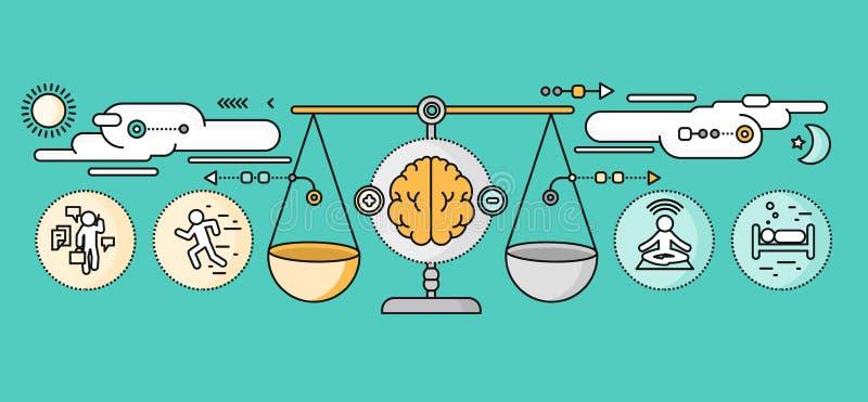 Diagnóstico de Brain Psychology Flat Design ilustração royalty free