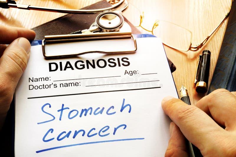 Diagnóstico do câncer de estômago em um formulário diagnóstico imagens de stock royalty free