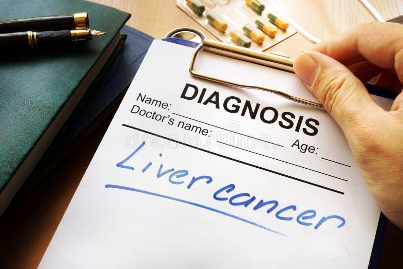 Diagnóstico do câncer do fígado em um formulário fotografia de stock royalty free
