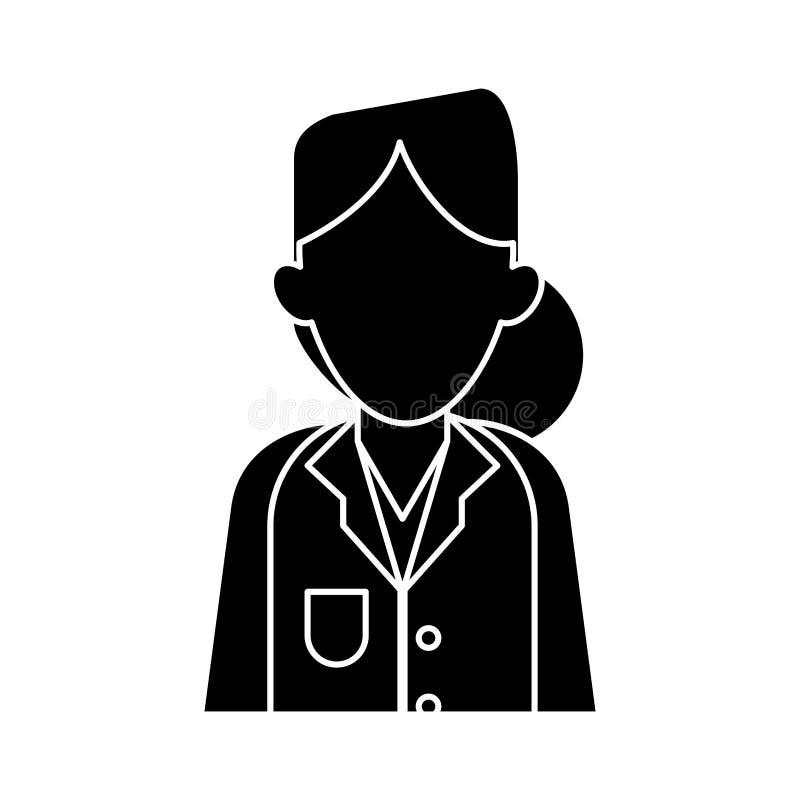 Diagnóstico do terapeuta do doutor da mulher da silhueta ilustração stock