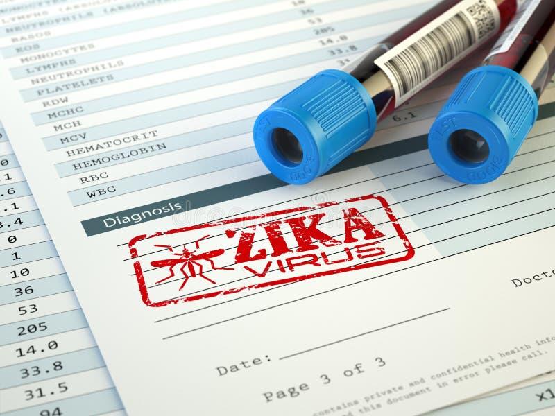 Diagnóstico do vírus de Zika Amostra da análise de sangue com selo do vírus de Zika, ilustração stock