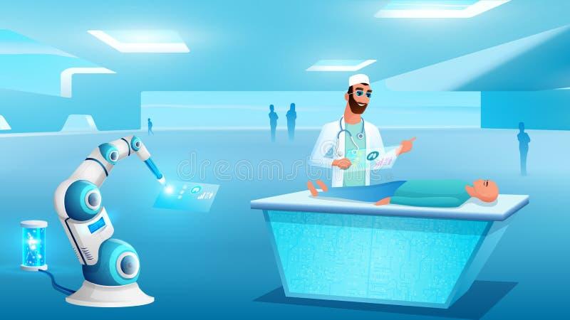Diagnóstico paciente del ordenador en la mesa de operaciones libre illustration