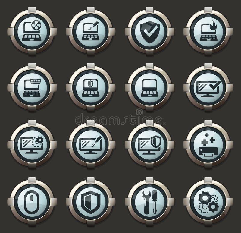 Diagnósticos de Repyer do grupo dos ícones dos computadores fotografia de stock