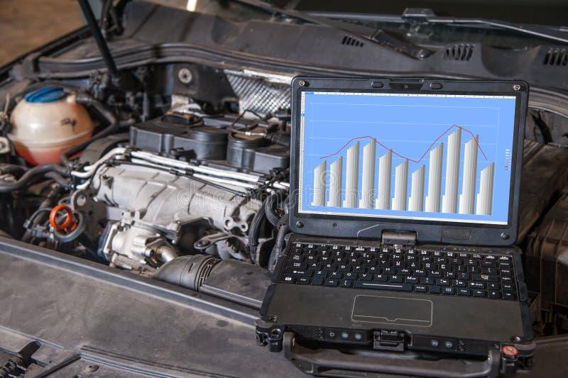 Diagnósticos do computador do motor no carro fotos de stock royalty free