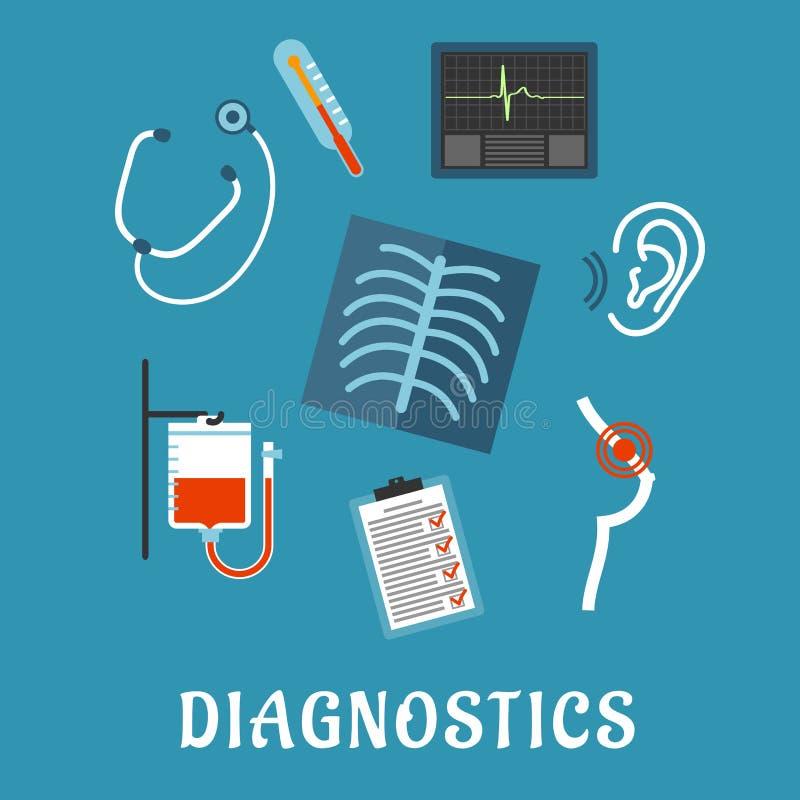 Diagnósticos e iconos planos del examen médico ilustración del vector