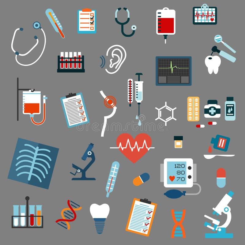 Diagnósticos médicos, prueba y equipo ilustración del vector