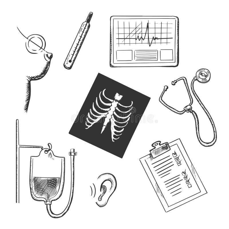 Diagnósticos y bosquejos del objeto de examen médico stock de ilustración