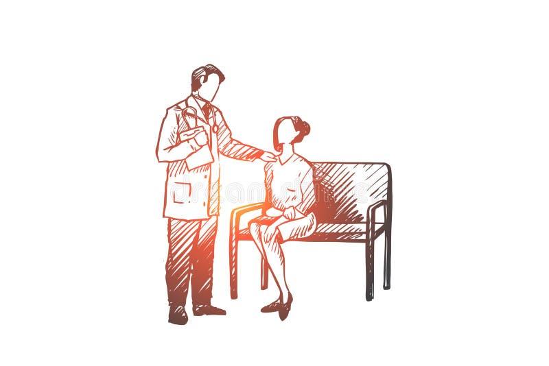 Diagnos doktor, patient, oncology, klinikbegrepp Hand dragen isolerad vektor vektor illustrationer