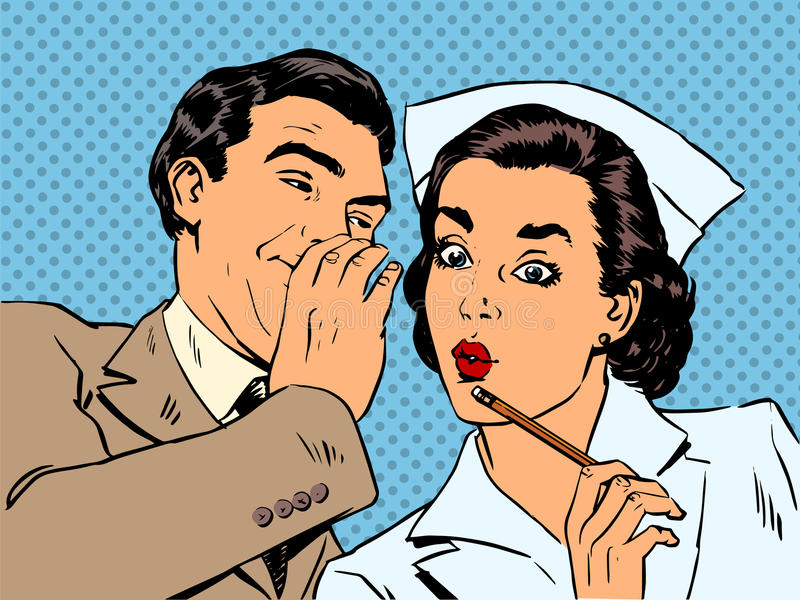Diagnose geduldige verpleegster en mannelijke roddelverrassing royalty-vrije illustratie