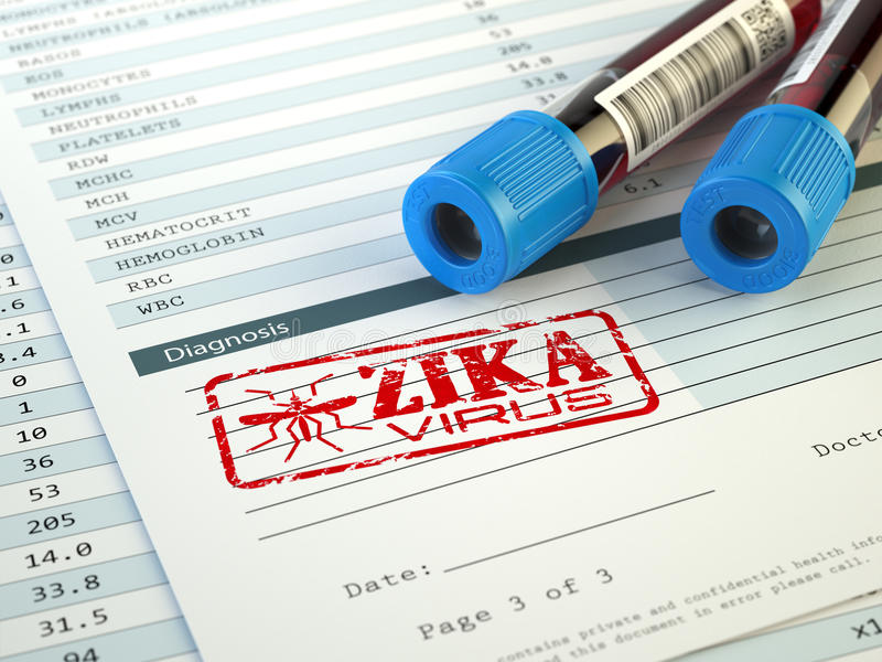 Diagnosi del virus di Zika Campione del sangue con il bollo del virus di Zika, illustrazione di stock