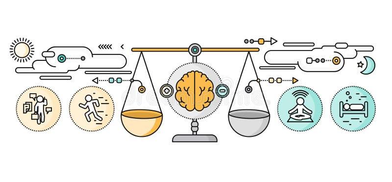 Diagnosi di Brain Psychology Flat Design illustrazione vettoriale