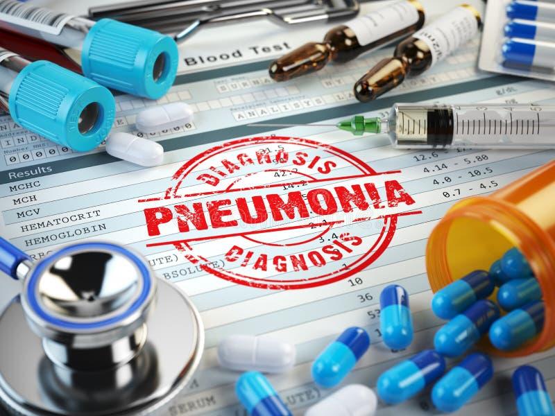 Diagnosi di malattia di polmonite Bollo, stetoscopio, siringa, sangue illustrazione di stock