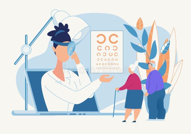 Diagnosi informativa dell'occhio del manifesto da un oculista royalty illustrazione gratis