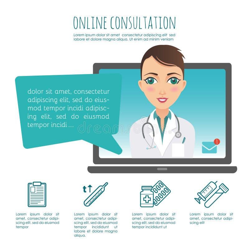 Diagnosi online di sanità e consulente medico Vettore infographic Web o applicazione del cellulare Medico femminile illustrazione di stock