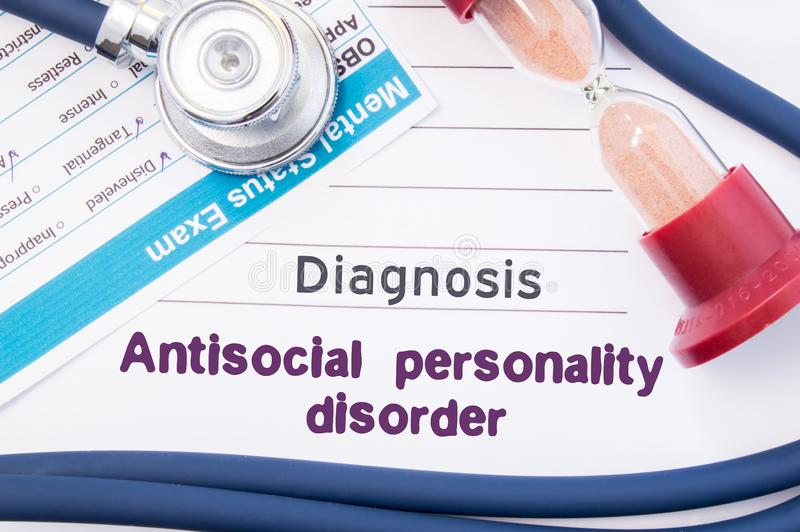 Diagnosis of Antisocial personality disorder ASPD. On psychiatrist or psychologist table is paper with inscription Antisocial pe. Rsonality disorder near royalty free stock image