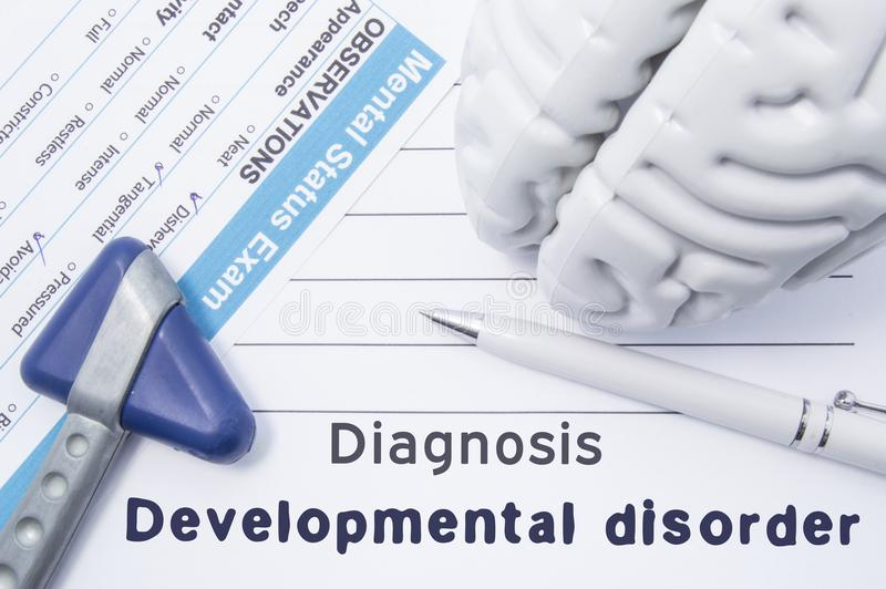 Diagnosis Developmental Disorder. Medical psychiatrist opinion with written psychiatric diagnosis of Developmental disorder, quest. Ionnaire mental status exam stock images