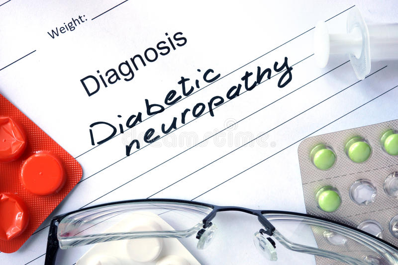 Diagnosis Diabetic neuropathy and tablets. royalty free stock images