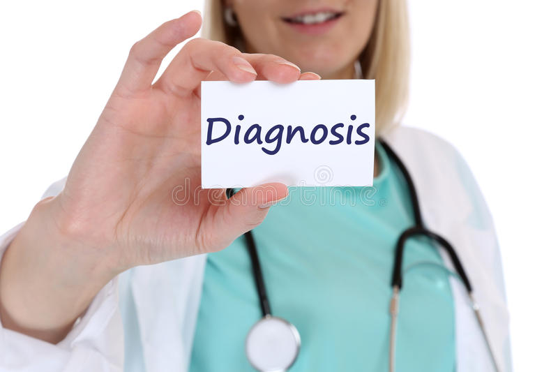 Diagnosis disease ill illness healthy health check-up screening. Doctor nurse with sign royalty free stock photo