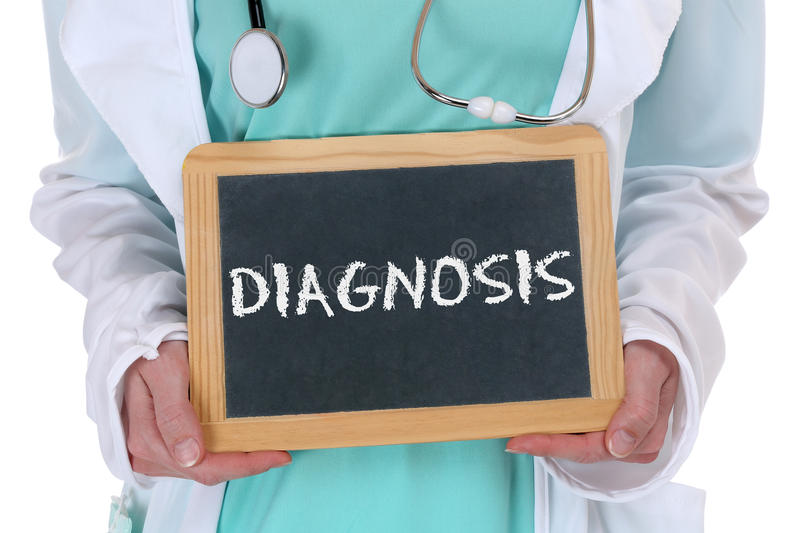 Diagnosis disease ill illness healthy health check-up screening. Doctor with sign royalty free stock image