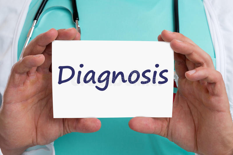 Diagnosis disease ill illness healthy health check-up screening. Doctor with sign stock images