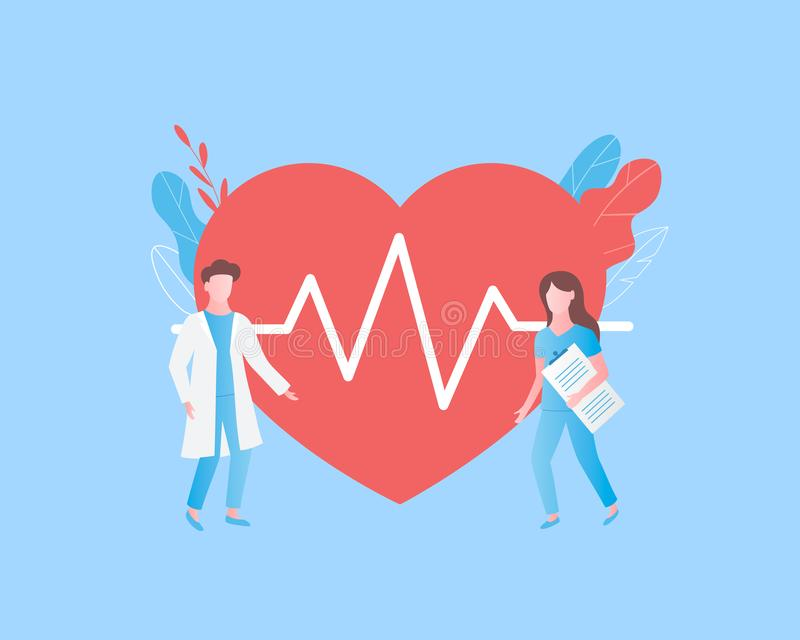 Diagnosis of heart disease concept. Heart cheering cardiogram, doctor and nurse. Trendy flat style. Vector illustration vector illustration