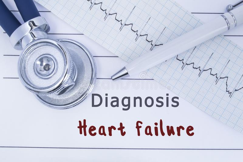 Diagnosis Heart failure. Stethoscope or phonendoscope together with type of ECG lie on medical history with title diagnosis Heart. Failure. Medical concept for stock images